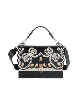 Ribbons and Pearls Kan I Embroidered Leather Shoulder Bag