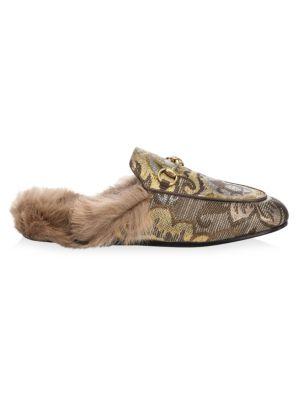 Princetown Brocade Fur Mules