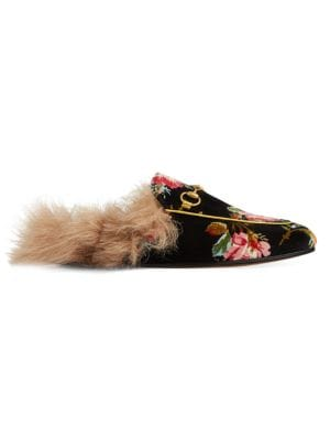 PRINCETOWN HORSEBIT-DETAILED SHEARLING-LINED FLORAL-PRINT VELVET SLIPPERS