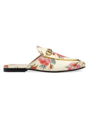 Princetown Rose Print Leather Slippers