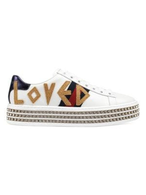 WOMEN'S NEW ACE EMBELLISHED LEATHER PLATFORM LOW TOP LACE UP SNEAKERS