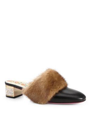 Leather Slides With Mink Fur