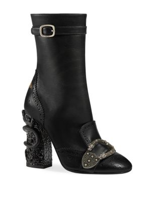 WOMEN'S QUEERCORE LEATHER & CRYSTAL SNAKE BLOCK HEEL BOOTIES