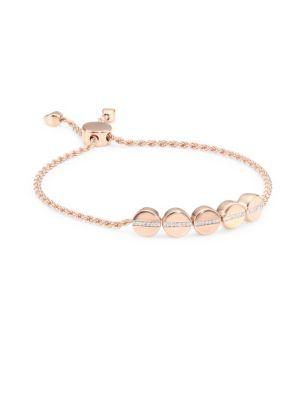 Diamond & 18K Rose Gold Linear Bead Friendship Bracelet