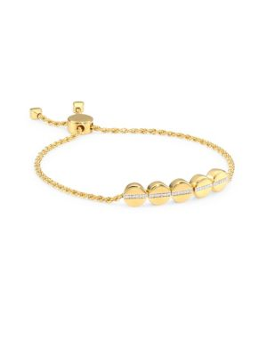 Diamond & 18K Gold Linear Bead Friendship Bracelet