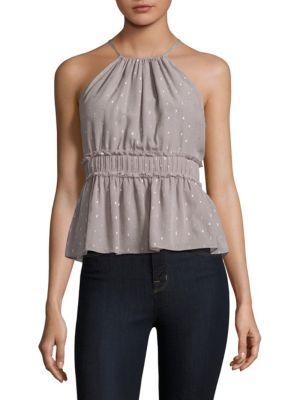 Shawnette Metallic Embellished Silk Halter Top