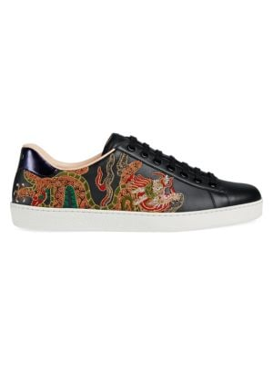 dragon-embroidered lace-up shoes - Black Gucci