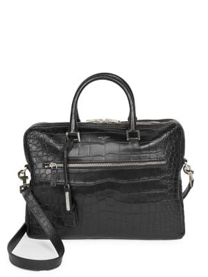 Crocodile Embossed Leather Briefcase