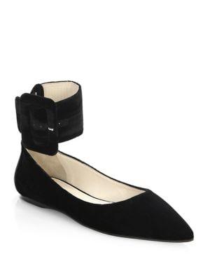 Buckled Velvet Ballet Flats
