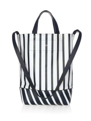 Walker Convertible Striped Leather Tote