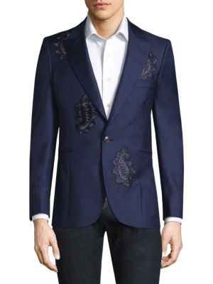 Paisley Button-Front Wool Jacket