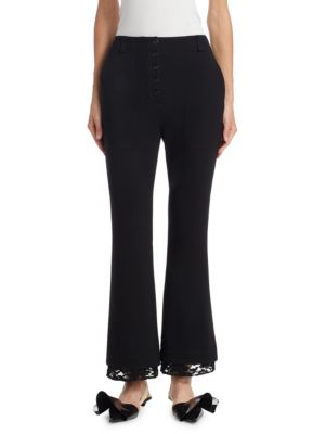Lace-Trim Flared Pants