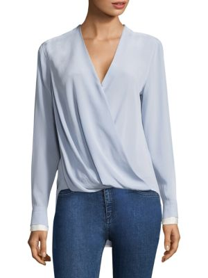 Victor Silk Surplice Blouse
