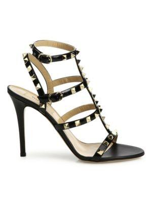 Rockstud Patent Leather Gladiator Sandals