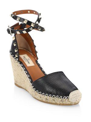 Rockstud Leather Wedge Espadrilles
