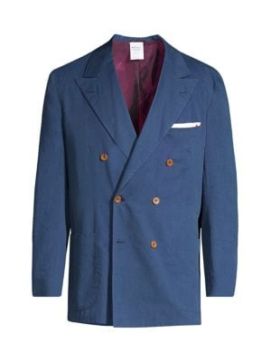 Double-Breasted Chambray Sport Coat