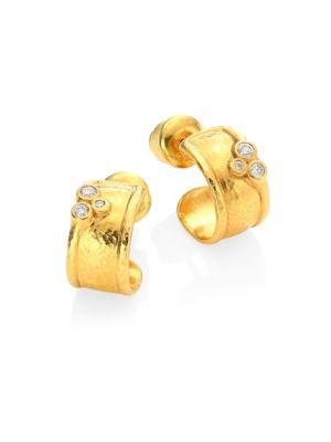 GURHAN Pointelle Diamond & 22K Yellow Gold Stud Earrings