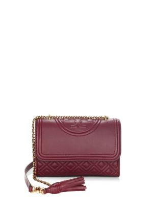 SMALL FLEMING QUILTED LAMBSKIN LEATHER CONVERTIBLE SHOULDER BAG - BURGUNDY