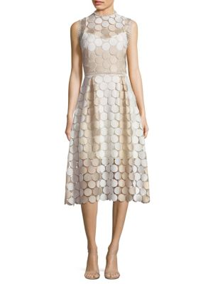 Circle Lace Fit & Flare Midi Dress