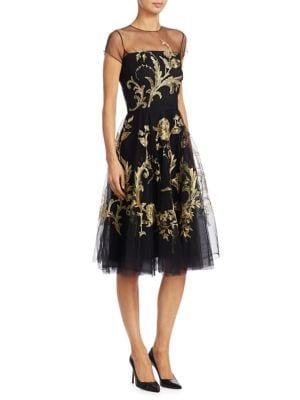 AHLUWALIA | Rambuteau Floral Embroidered Dress | Goxip