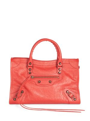 SMALL CLASSIC CITY LOGO STRAP LEATHER TOTE - RED