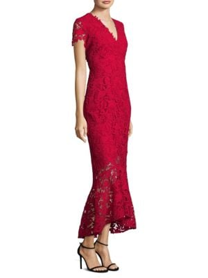 Lace Hi-Lo Trumpet Hem Midi Dress