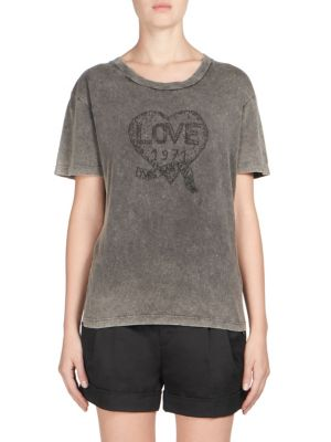 T-SHIRT EMBROIDERED WITH LOVE 1971 IN FADED BLACK DESTROYED JERSEY