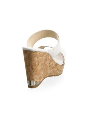 JIMMY CHOO Parker Two-Band Cork Wedge Sandal in White Leather