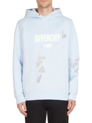 Cuban Destroyed Logo Cotton Hoodie by Givenchy