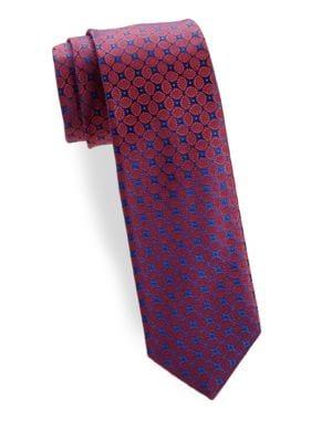 Leaf Medallion Silk Narrow Tie