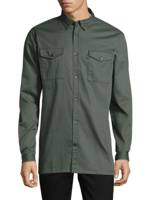 WESC OLAF COTTON WORKWEAR SHIRT, GRAY MARBLE