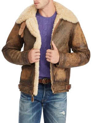 a24189150 POLO RALPH LAUREN Shearling-Trimmed Leather Bomber Jacket in Brown .