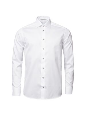 Contemporary-Fit Twill Dress Shirt with Grey Details