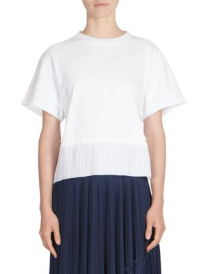 Pleated Woven Mix Tee