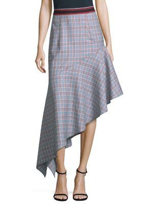 Wool Asymmetrical Plaid Skirt