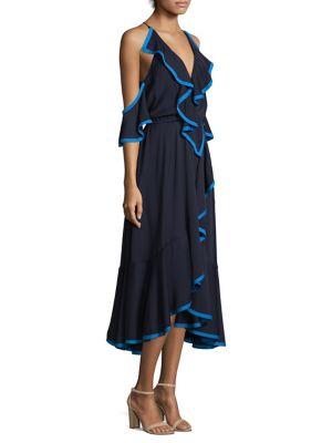 Ruffle Silk Cold-Shoulder Dress