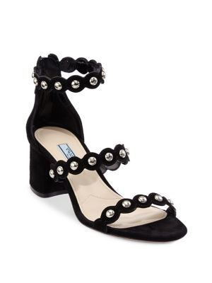 Best Place For Sale Prada Suede Studded Sandals Outlet Discount Latest Discount Low Shipping Fee For Sale BbGLeSMyIz