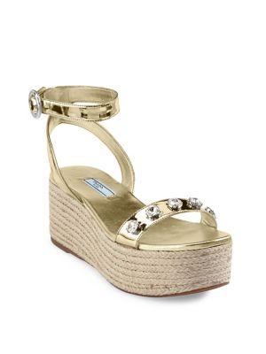 Calzature Donna Leather Flatform Sandals