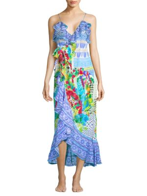 Printed Frill Silk Maxi Dress