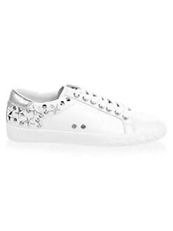 [한국 직배송 무료] 아쉬 데이즈드 별 스니커즈 화이트/실버 (한효주 착용) ASH Dazed Star & Stud Leather Sneakers, White Silver