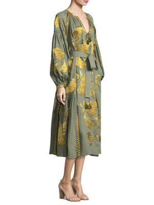 Rose Embroidered Linen Dress