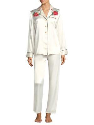 GINIA | Silk Embroidery Pajamas | Goxip