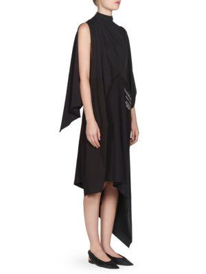 PROJECTION ASYMMETRIC PRINTED COTTON-JERSEY DRESS