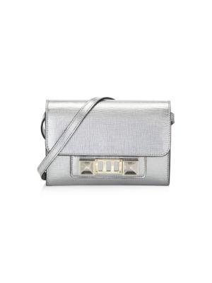 Mini PS11 Metallic Leather Crossbody Bag