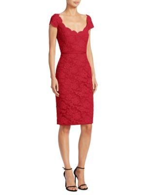 REEM ACRA Scoopneck Lace Dress