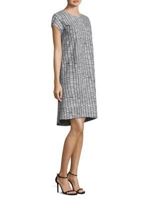 Short Sleeve Tile Print Dress