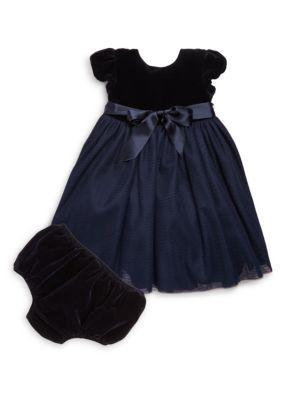 Baby's Velvet & Tulle Dress & Bloomers Set
