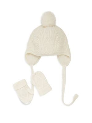 Baby's Cable-Knit Hat & Mittens Set