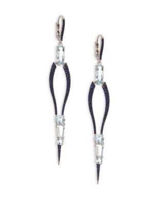 ETHO MARIA Sharp 18K White Gold Aquamarine and Sapphire Drop Earrings