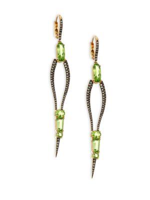 ETHO MARIA Sharp 18K Gold Peridot and Green Sapphire Drop Earrings